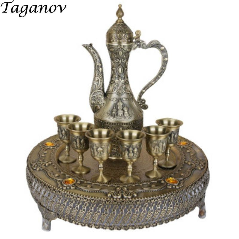 gifts Eight-Piece Wine set European Retro Alloy Liqueur set Russian Palace Style Sip Cup goblet Spirit Wine Pot Flagon With Tray