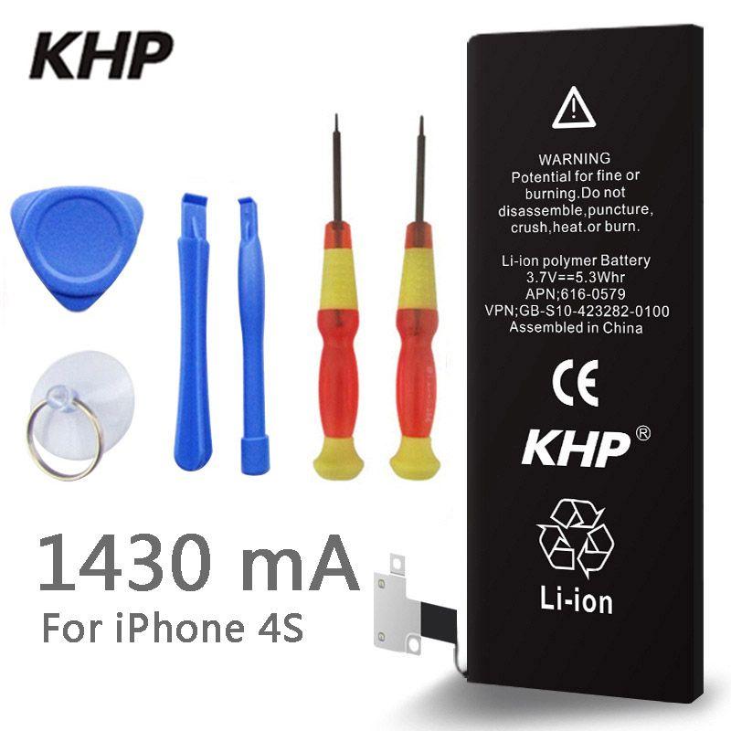 2018 Nouveau KHP 100% D'origine Téléphone Batterie Pour iPhone 4S Réel Capacité 1430 mah Avec Outils Kit Autocollant Remplacement De Sauvegarde batterie
