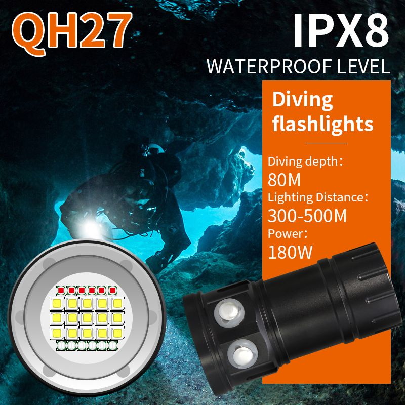 Tinhofire QH18/QH27 Underwater IPX8 80M White XML2+XPE Red/Blue R5 Photography Video LED Diving Flashlight Photo Fill Light