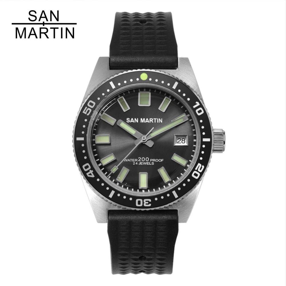 San Martin 62MAS Men Automatic Watch Stainless Steel diving Watch 200m Water Resistant 12 Luminous Bezel Relojes Hombre 2018