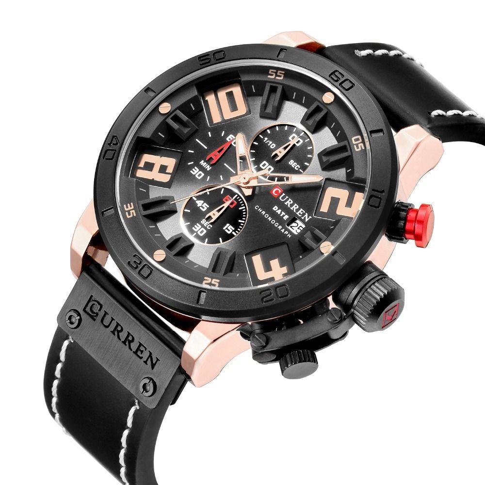 Curren 2018 8312 Watches Men Chronograph Sport Leather Strap Military Quartz Curren Watches Men Army men watch N9