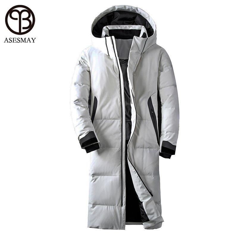 Asesmay marke kleidung winter jacke männer weiß farbe ente unten langen mantel gans feder starke casual parkas hoodies männlichen jacken