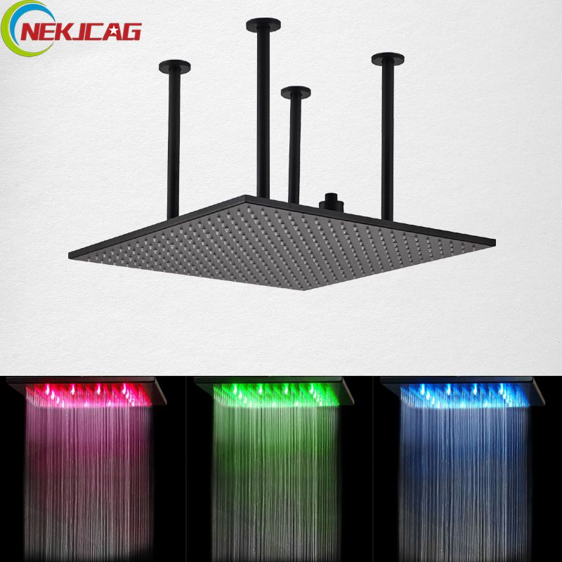 LED Shower Head ORB Black 20 Inch Rainfall Bathroom Shower Faucet Square Shower Head with 361 Holes