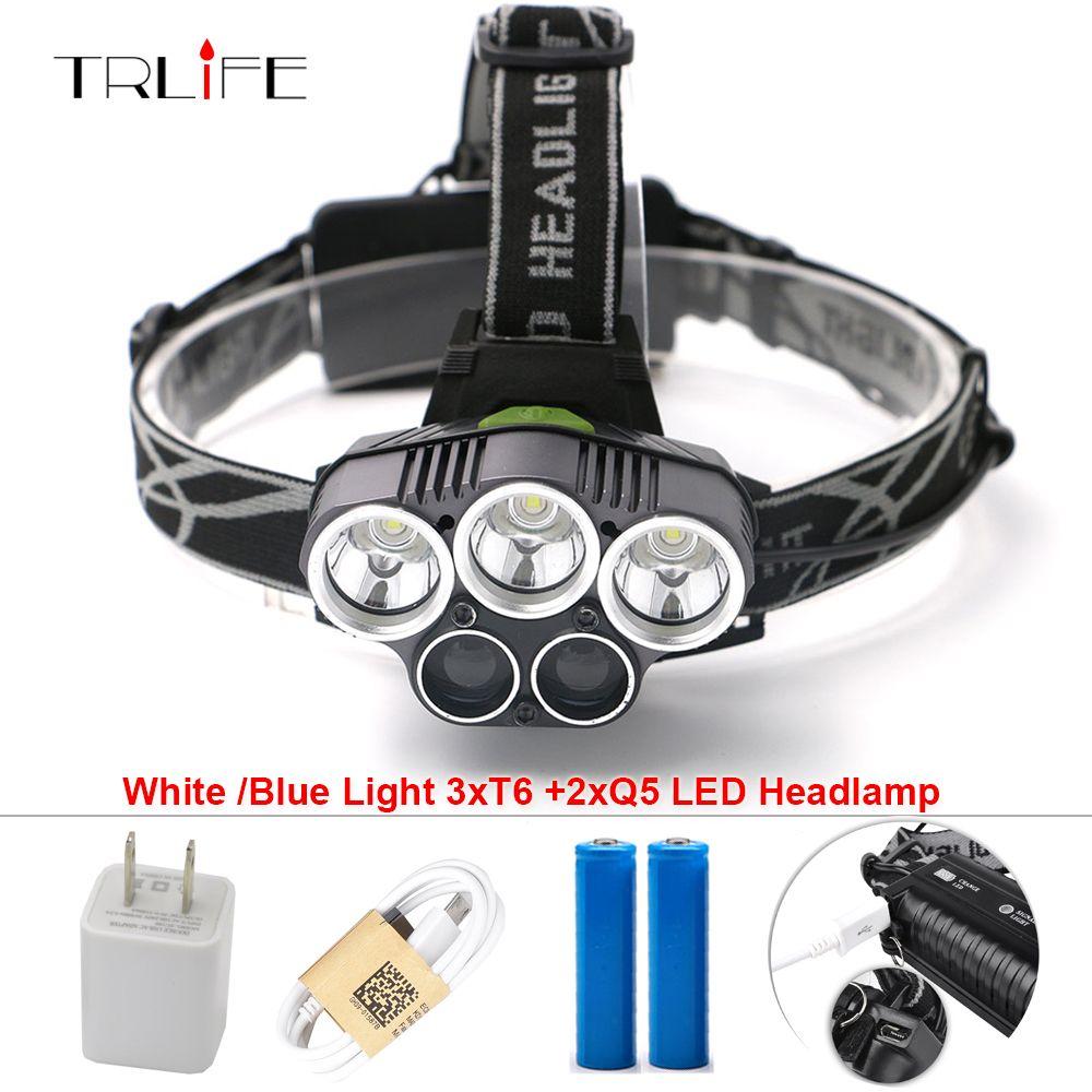 5 CREE LED Headlamp XM-L T6 Q5 <font><b>Headlight</b></font> 15000 Lumens Led Head Lamp Camp Hike Emergency Light Fishing Outdoor Equipment