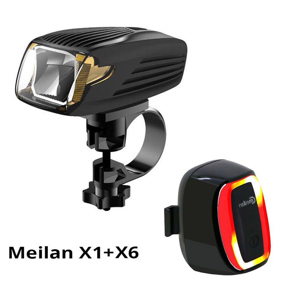 Meilan X1 Portable Lights Flashlight Bicycle Light Bike Led Front Light & Cmeilan X6 Tail Lamp 16 LED Smart Bike Led lights