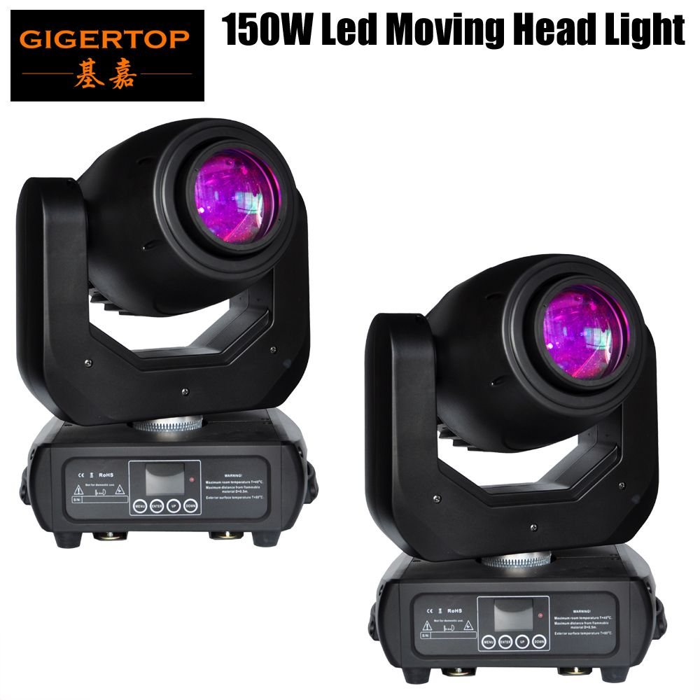 Freeshipping 2 Pack 150W Led Moving Head Spot Light LED Display Wireless Receiver Socket 15 Degree Beam 3 Facet Prism Zoom Focus