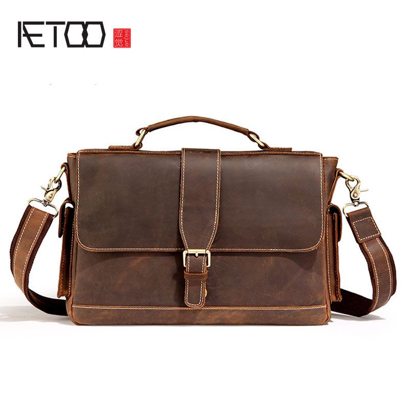 AETOO Vintage Handbag Wanderers Marble Messenger Bag Male Bag Shoulder Bag Men 's Leather Business Briefcase