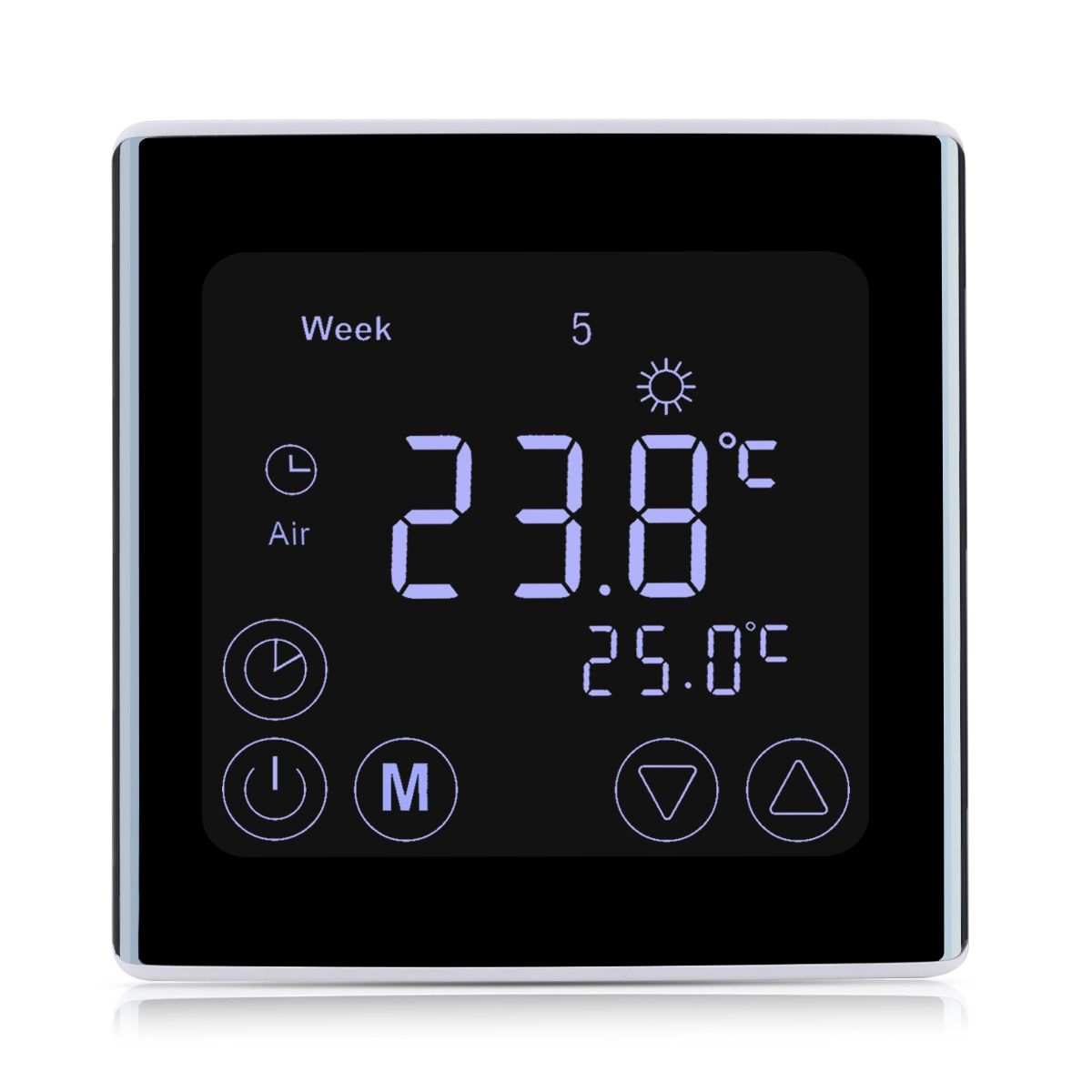 New Weekly Underfloor Heating Thermostat Home Smart LCD Touch Screen Room Temperature Controller LED Thermostat White Backlight