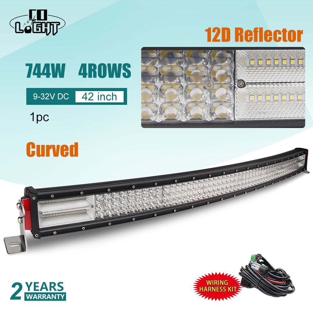 CO LIGHT 42inch LED Bar 12D 744W 4-Row Curved LED Light Bar Combo for Auto Driving Offroad Car Tractor Truck 4x4 SUV ATV 12V 24V