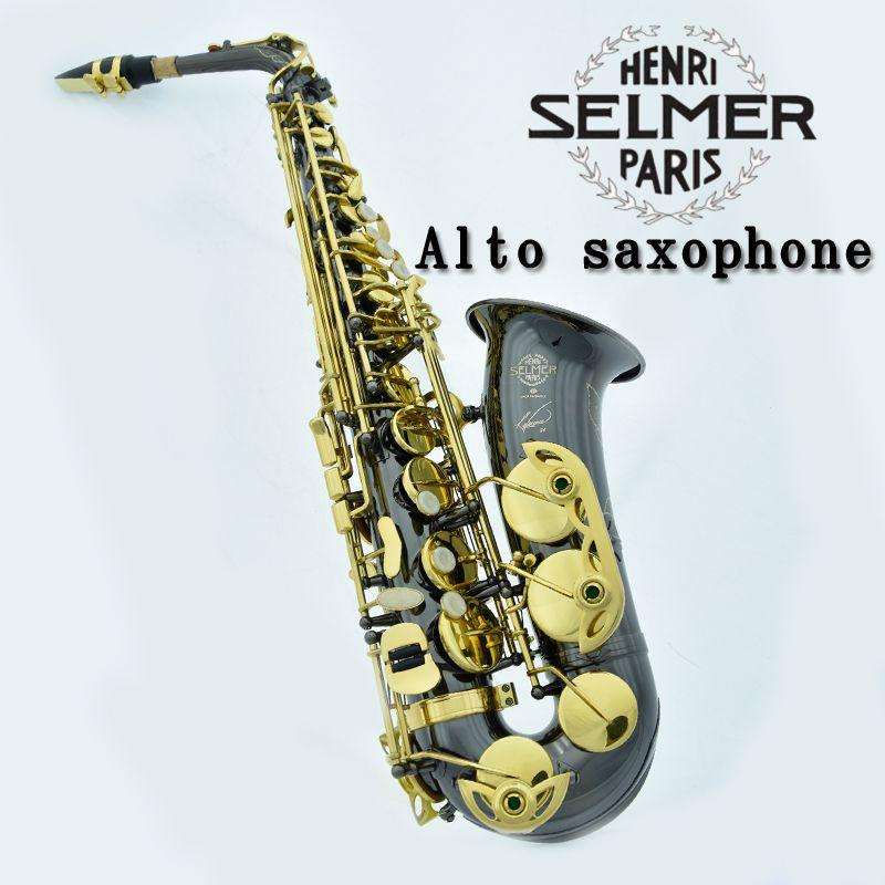Vente chaude France Henri Selmer 54 saxophone altoBlack NickelGold Musical Instruments saxofone or professionnel sax et Dur boxs