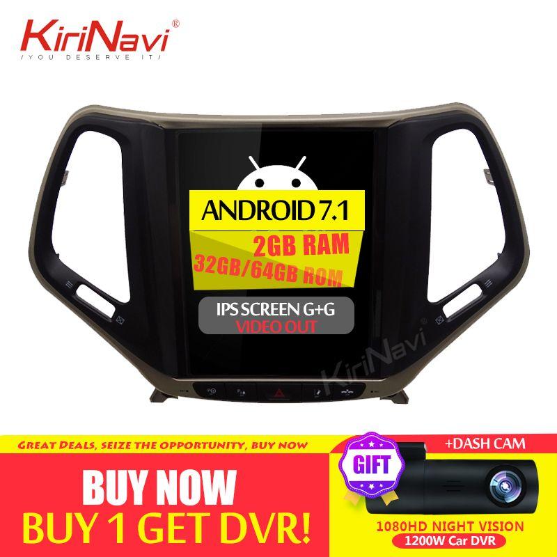 KiriNavi Vertikale Bildschirm Tesla Stil 10,4 Zoll Android 7.1 Auto DVD Für JEEP Cherokee Radio GPS Navigation Bluetooth 2015 2016