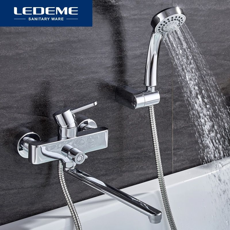 LEDEME Bathroom Bathtub Faucets Shower Set Mixer Tap Shower Hand Sprayer Wall Mounted Bath Bathtub Faucet Single Handle L2271