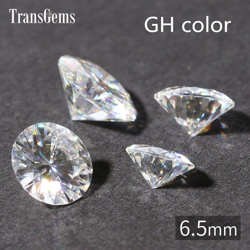 TransGems 1ct Carat 6.5mm GH Color Round Brilliant Cut Lab Grown Moissanite Diamond Test Positive 1piece