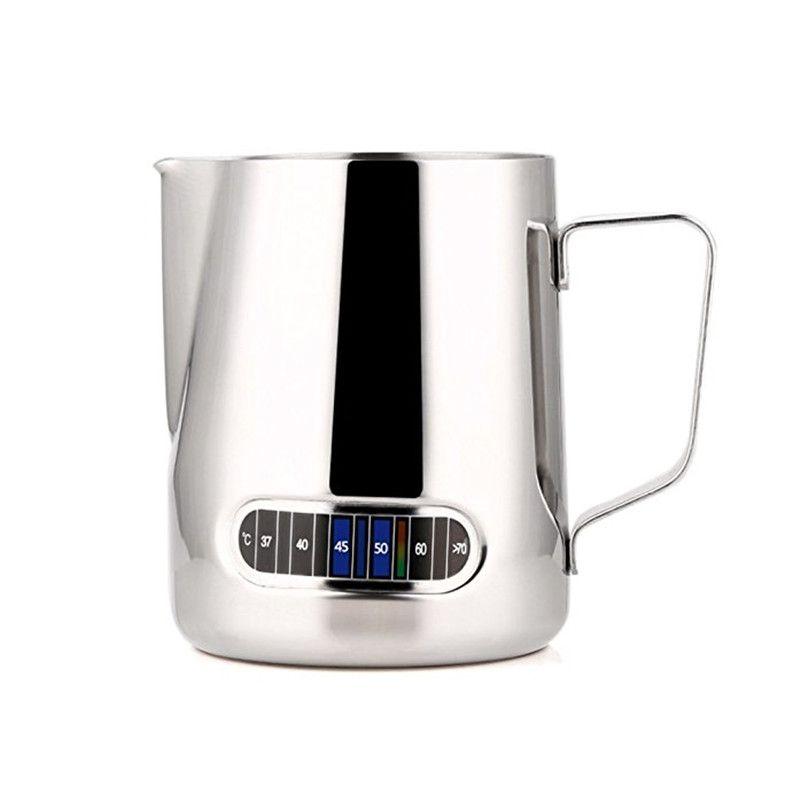 Нержавеющаясталь вспенивания молока кувшин бариста Кофе кувшин с термометр-сделать идеальный пена для капучино Кофе 600 мл