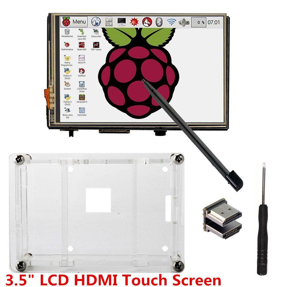 Écran tactile 3.5 LCD HDMI USB 320x480 à 1920x1080 écran LCD Audio avec étui transparent pour Raspberry Pi 3 Pi 2 (jouer à la vidéo de jeu)