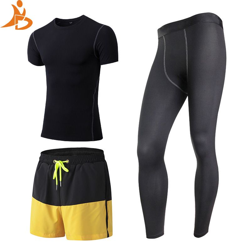 YD New 3 pcs Quick Dry Fitness Tight Tracksuit Men Training Long Sleeve Shirt Pants Male O-Neck Gym Running Set Sport Suit