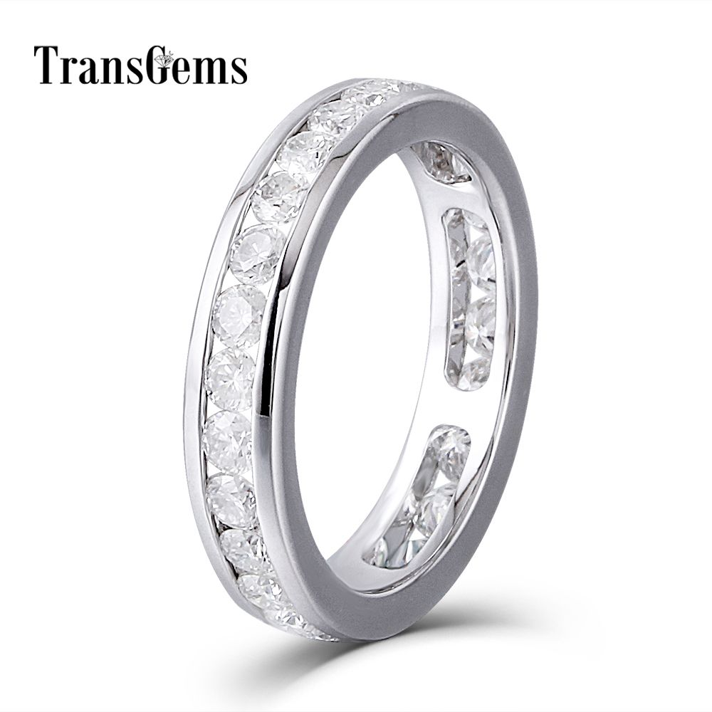 Lovers Gold Moissanite Diamond Wedding Band Eternity Band Solid 14K 585 White Gold Engagement Anniversary Ring for Women and Men