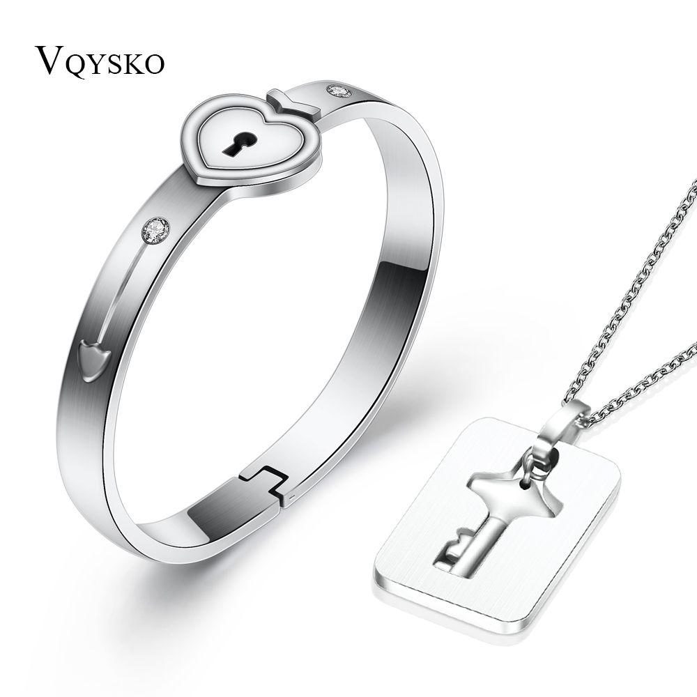 Mode un Couple ensembles de bijoux pour les amoureux en acier inoxydable amour coeur serrure Bracelets Bracelets clé pendentif collier Couples ensemble