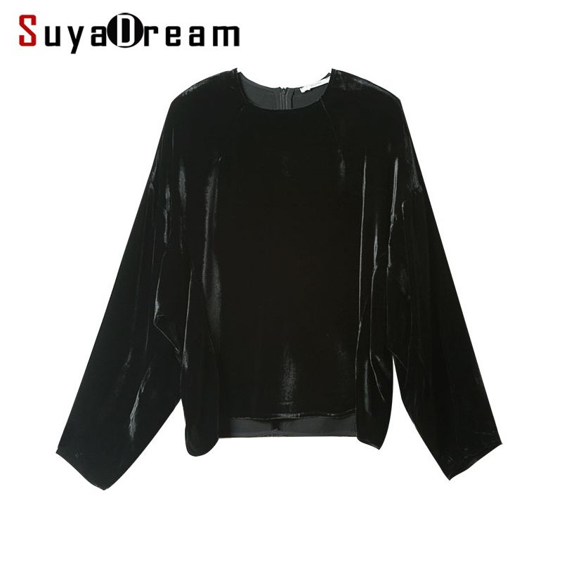 Woman T SHIRT 100% Natural Silk Velour casual Top 2017 Fall Winter Loose Bat sleeved shirt Black Bottoming shirt