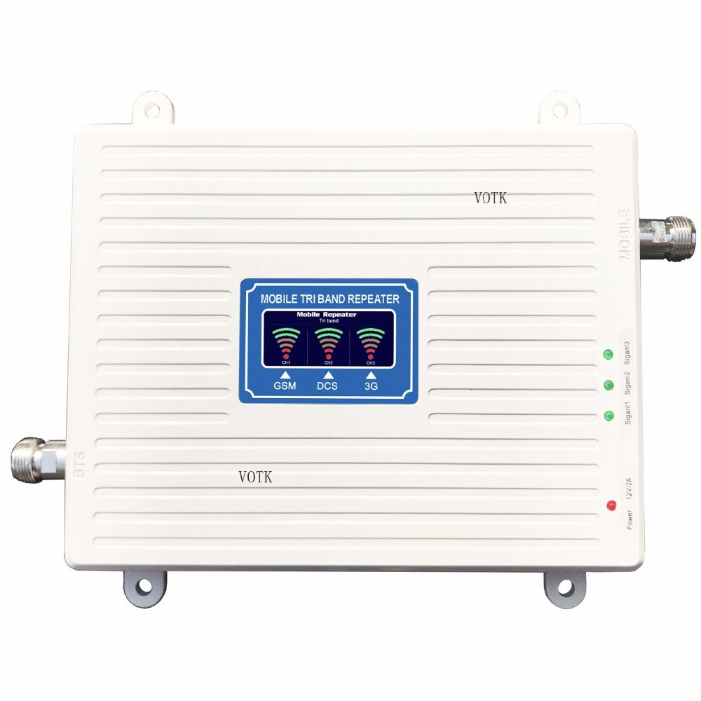 VOTK NEW Tri Band Repeater 2G 3G 4G SIGNAL BOOSTER GSM 900 DCS/LTE 1800 WCDMA/UMTS 2100MHz AMPLIFIER MOBILE SIGNAL ANTENNA