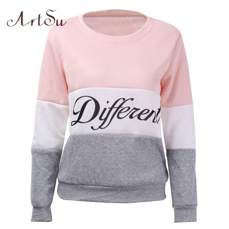ArtSu 2019 automne et hiver femmes fleeve hoodies imprimé lettres différentes femmes décontracté sweat à capuche sudaderas EPHO80027