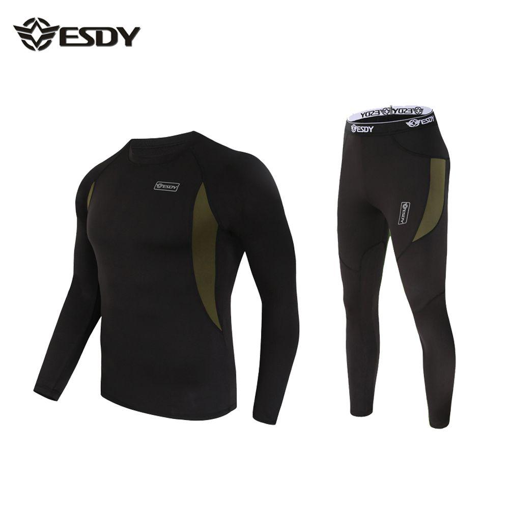 Calzoncillos largos de los hombres conjuntos de ropa interior térmica delgada de manga larga camiseta + calzoncillos