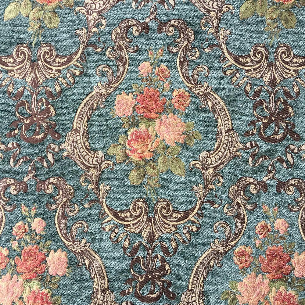 Deluxe Vert Foncé Fleur Épais Polyester Rayonne Chenille Floral Rideau Tissé Canapé D'ameublement Tissus Vintage Tissu 280 cm Largeur