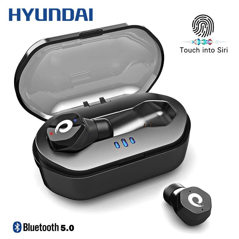 HYUNDAI TWS True Wireless Touch Control Waterproof Fitness Running Earbuds Truly Bluetooth Earphones with Charging Box Noise
