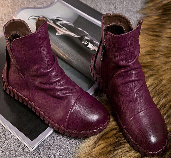 Низкие ботинки из натуральной кожи плюс Велет зима обувь для девочек ручной работы Вышивание мягкая подошва ленивый Обувь Средства ухода з...