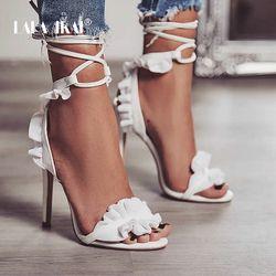 LALA IKAI Cross Bandage High Heels Sandals Women Pumps Thin Heel Ruffle Lace-Up Summer Shoes Fashion pompes de femme 014C1101 -4