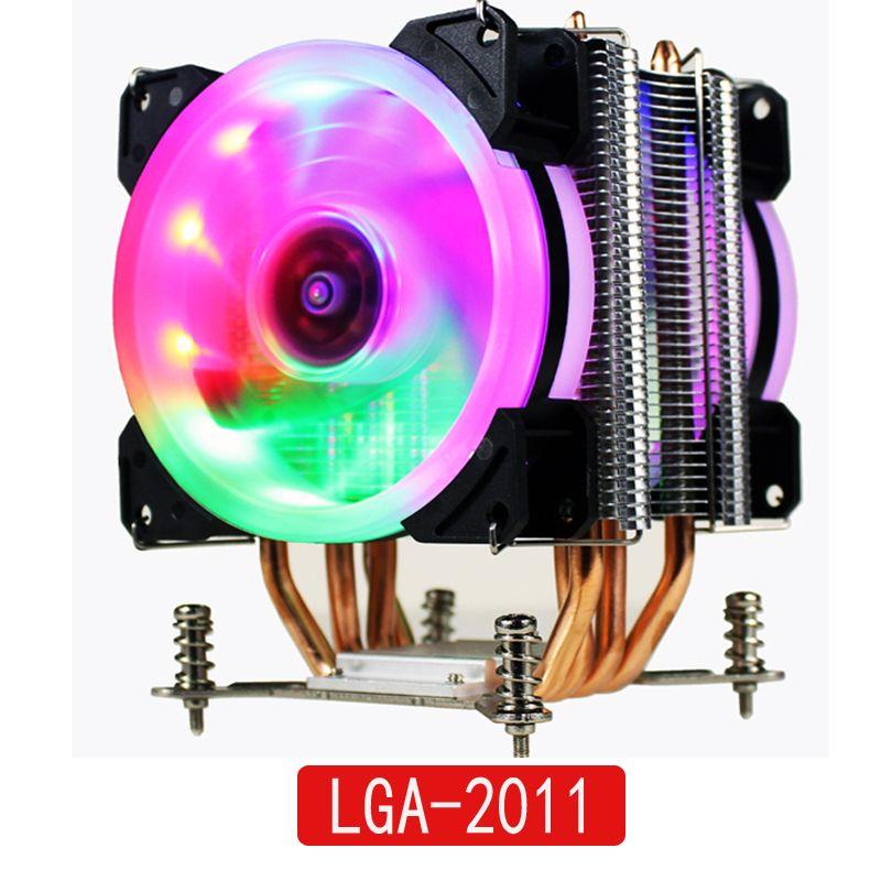LANSHUO HOT-CPU silencieux ventilateur refroidisseur pour Intel X79 LGA2011 processeur 4 caloducs refroidissement CPU radiateur 2 ventilateur