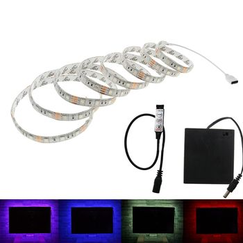 Battery LED Strip SMD 5050 5V IP20/ IP65 Waterproof Tape Lighting DIY Home Decorative Lamp With Battery Box RGB/White/Warm White