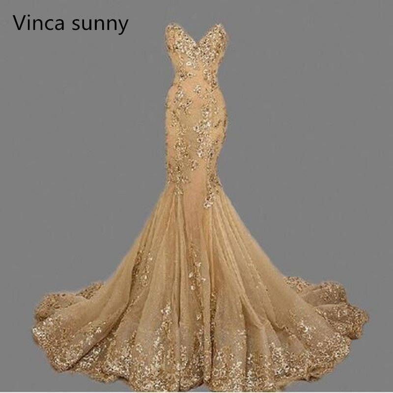 vestido de festa Luxury Evening Gowns Sweetheart robe de soiree Gold Sequins Mermaid Evening Dresses Long 2018 Ebay Best Selling