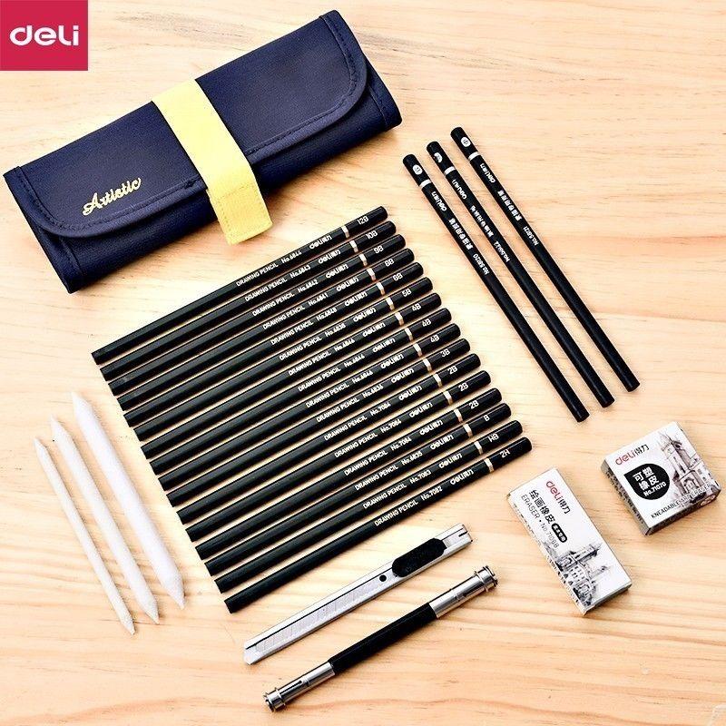Deli 27pcs/pack Professional Sketch Set For School Art Supply Paper Eraser Charcoal Pencil Extender Canvas Bag Kids Drawing Gift