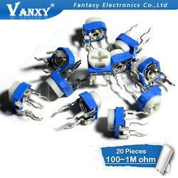 20 штук RM065 RM-065 100 200 500 1 K, 2K 5K 10K 20K 50K 100K 200K 500K 1 м ом триммер регулируемый резистор потенциометра