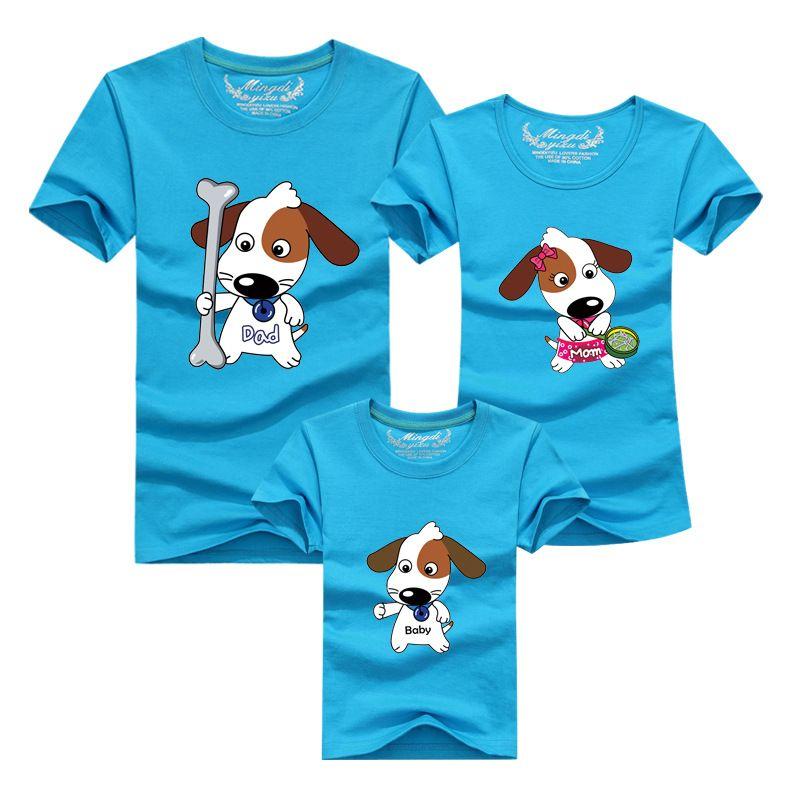 1 pièces correspondant famille vêtements maman et fils chemise 2016 décontracté Cartoon chien à manches courtes T-shirt pour mère père bébé Mae E Filha