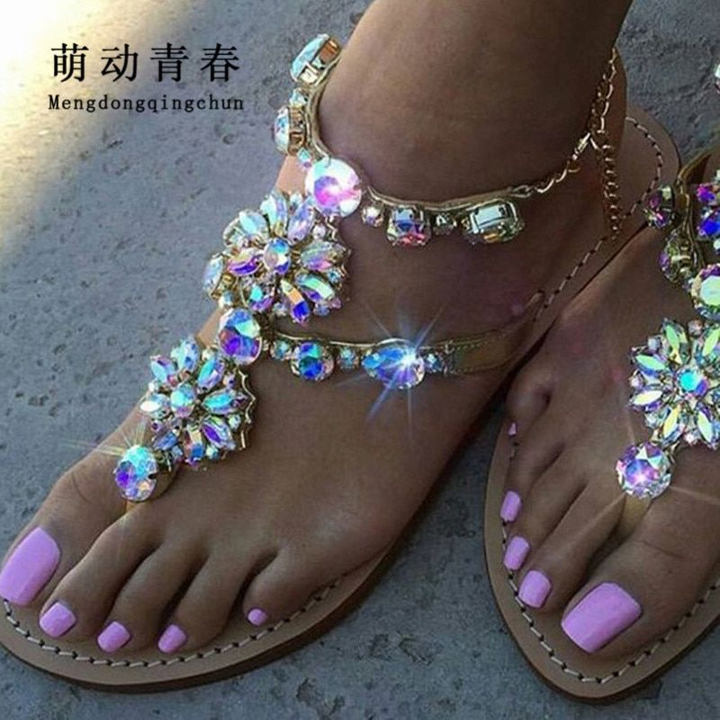 2017 Woman Sandals Women Shoes <font><b>Rhinestones</b></font> Chains Thong Gladiator Flat Sandals Crystal Chaussure Plus Size 46 tenis feminino