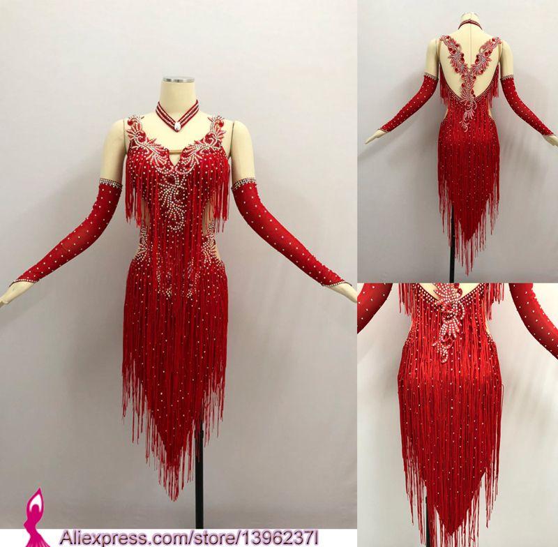 Red Latin Competition Dance Skirt Women 2018 New Custom Made Sexy Sumba Rumba Tassel Dancing Wear Adult Standard Latin Dress
