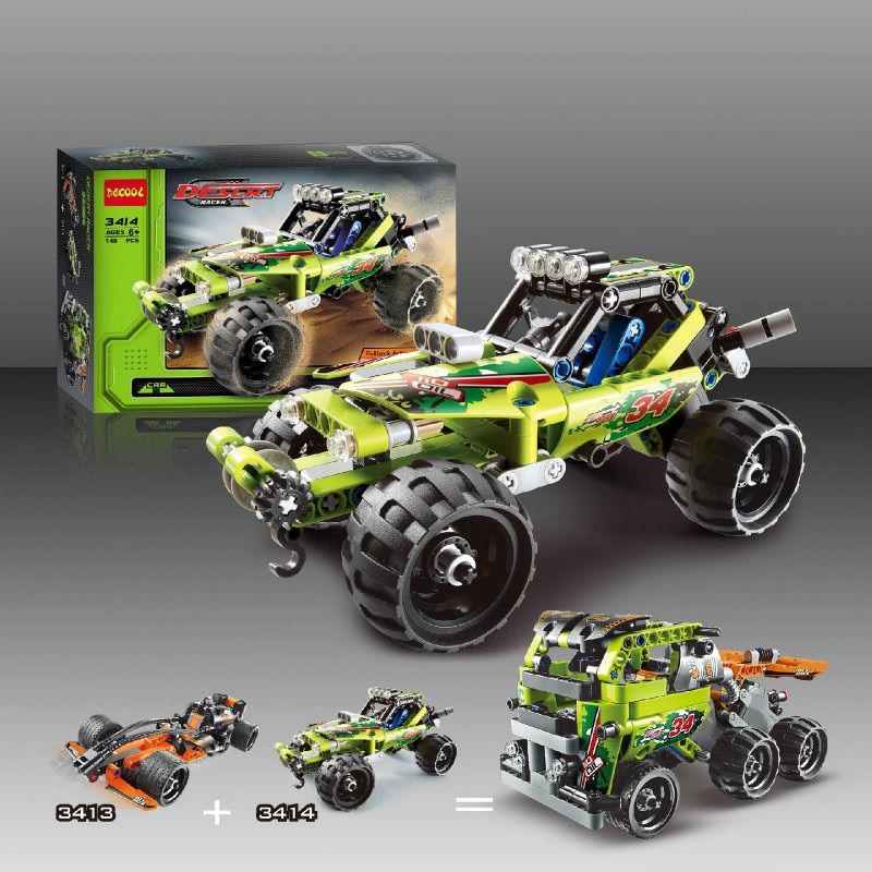 3411-18 Technique 2 dans 1 guerrier tout-terrain racer Voiture Modèle 3D building set Guerrier voiture de sport bébé enfants 3363 Jouets lepin