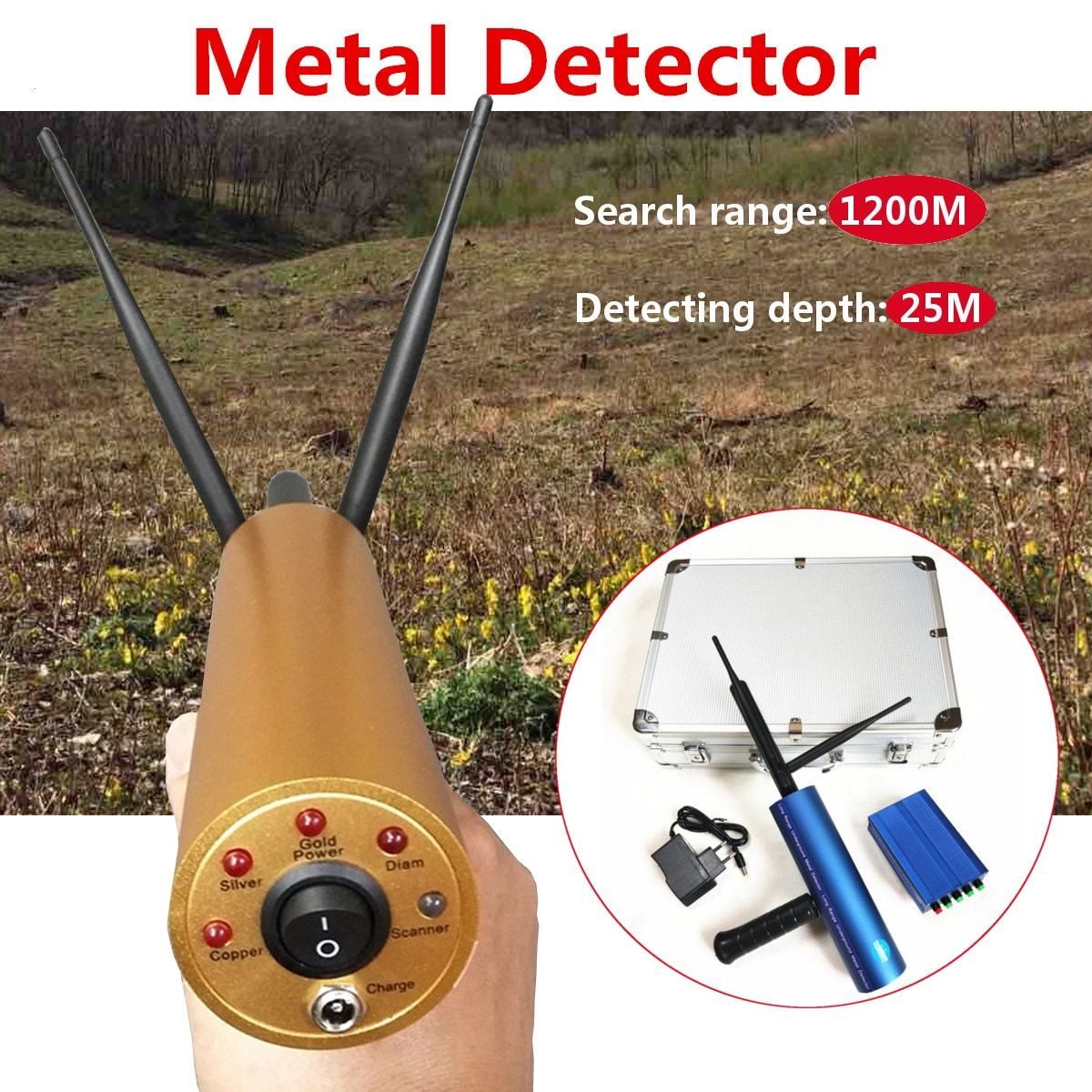 Professtional Underground Gold Metal Detector 1200M Long Range Search Treasure Finder Scanner Tracker Metal Circuit Detector