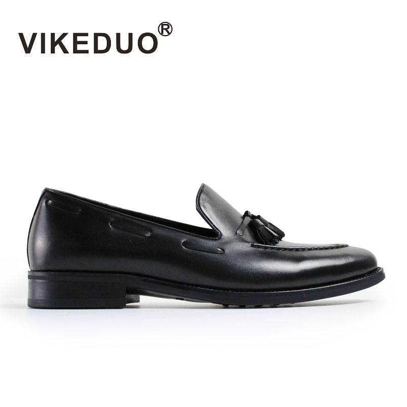 2017 Vikeduo Custom Vintage Para Hombre Del Holgazán Zapatos Calientes de Cuero de Vaca Genuino de Lujo de La Boda Del Partido Del Vestido de Moda Casual Diseño Original