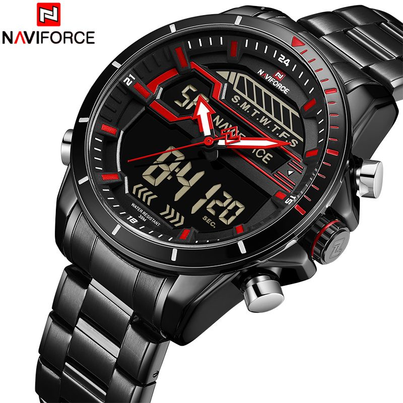 2018 New Men Sport Watch NAVIFORCE Man Army Waterproof Quartz Wrist Watches Male Full Steel LED Digital Clock Relogio Masculino