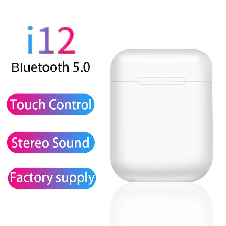 i12 TWS Bluetooth Headphones Wireless Earphones Touch Control Earbuds sport bluetooth headset ForMobile Phones i7s tws