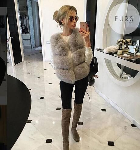 British Style Stunning Short sexy Natural fox fur vest classic three rows Beautiful boutique real fox fur gilets wholesale