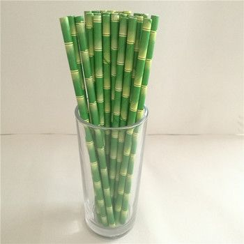 25pcs Eco-friendly Bamboo Pattern Paper Straws  Kids Birthday Wedding Decorative Party Decoration Event Supplies Drinking
