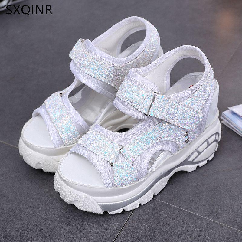 Woman Sandals 2018 Summer Women Concise Platform Sequins Casual Shoes Woman Fashion Thick Bottom Wedges Sandals