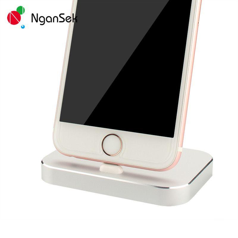 Metal USB Charger Dock Station Stand Holder For Apple iPhone 6 7 Plus SE 5 5s 6s Lighting Dock Data Sync Desktop Docking Bracket