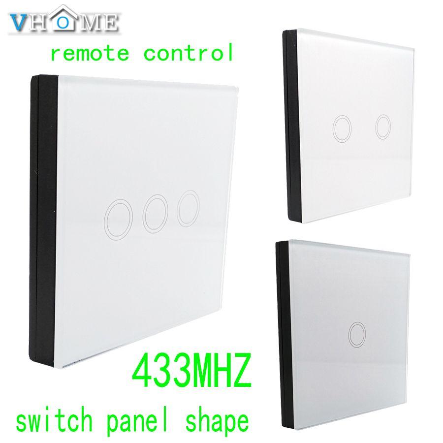 Vhome RF 433 MHZ télécommande de panneau de verre sans fil, contrôle de forme de commutateur pour commutateurs tactiles, portes de garage, rideaux électriques