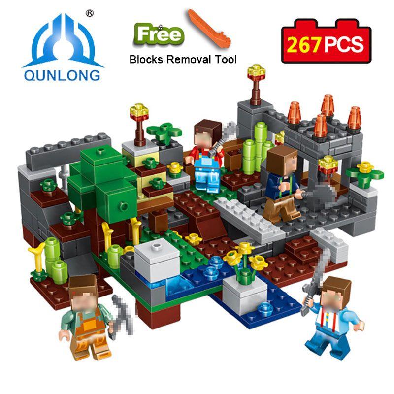 Qunlong 0506 4 en 1 groupe de ville Compatible grande marque Minecrafted bloc de construction chiffres briques jouets éducatifs pour les enfants