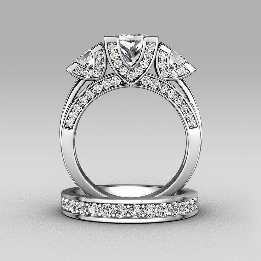Choucong Princesse cut Trois-pierre 8ct Pierre 5A Zircon pierre 925 En argent Sterling Femmes Engagement Bague De Mariage set